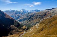 Furka Pass railway tracks and highway looking south